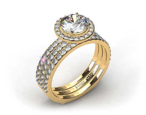 18k Yellow Gold 1.5-4.5mm Diamond Halo Pave Bridal Set